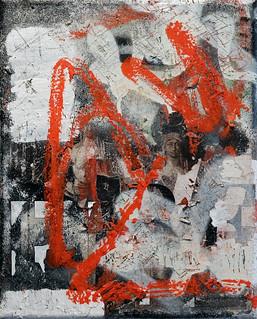 Zavier Ellis 'Revolt Repeat 2 (Red)', 2020 Oil, oil bar, acrylic, spray paint, collage on canvas 30x24cm