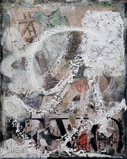 Zavier Ellis 'Revolt Repeat 9 (White)', 2020 Oil, oil bar, acrylic, spray paint, collage on canvas 30x24cm