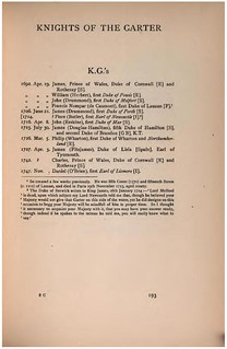 Jacobite Peerage pubd 1904 p193 Knights of the Garter | by arthur.strathearn