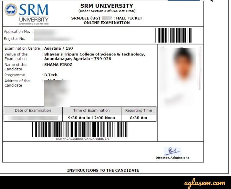 SRMJEEE Admit Card Sample Image