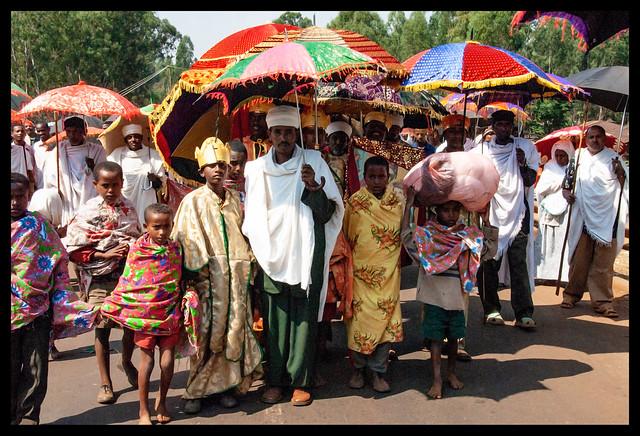 Procession à Finoté Selam pendant les fêtes du Timkat