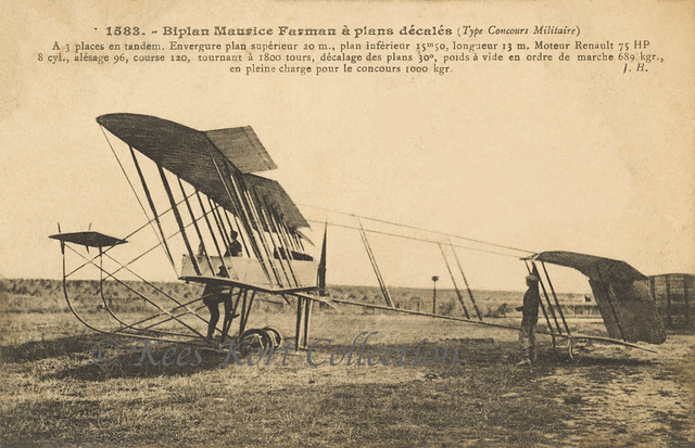 The stagger wing Maurice Farman - contest number '3' - which competed successfully in the Concours d'Aéroplanes Militaires in Reims [France, 1911]