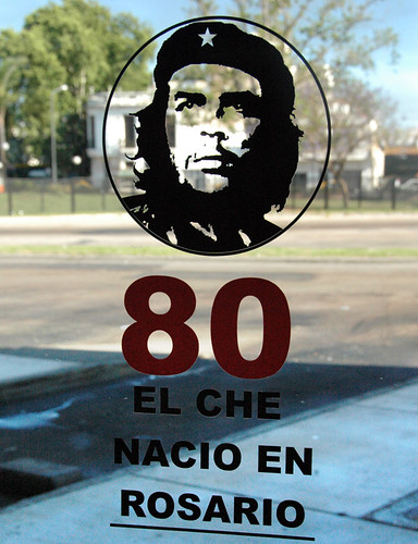Number on a glass door in Rosario celebrating that Che Guevara was born there (Argentina)