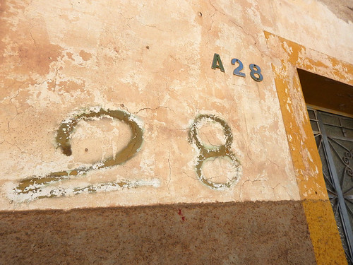 House number A28 on a Mascota wall in Mexico