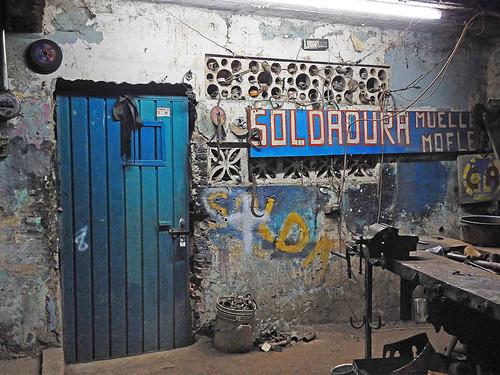 Blue door at night in Marquelia, Mexico