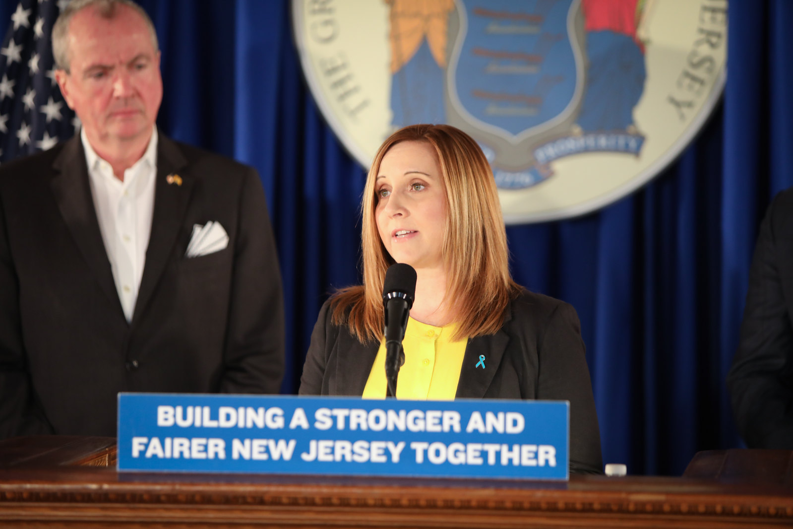 Governor Murphy, AG, DCR Director Rachel Wainer Apt, NJCASA Exec Director Patricia Teffenhart, and CSC Chair Deirdre Webster Cobb announce legislation to overhaul New Jersey's anti-workplace harassment law for public and private employers on February 18,