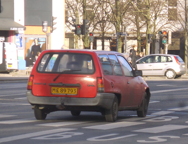 Lucky quick shot when surprised by this passing me  - now rare 1990 Opel Kadett ME89793 still on the raods of Denmark