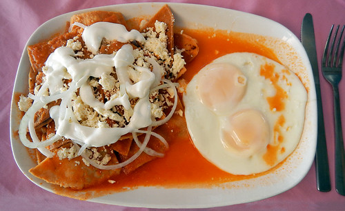 Chilaquiles & eggs for breakfast in Puerto Escondido, Mexico