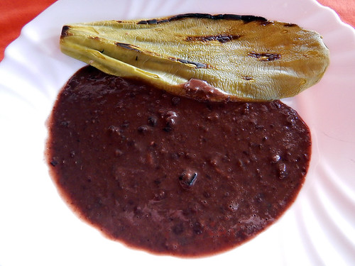 Frijoles & nopal for breakfast in Puerto Escondido, Mexico
