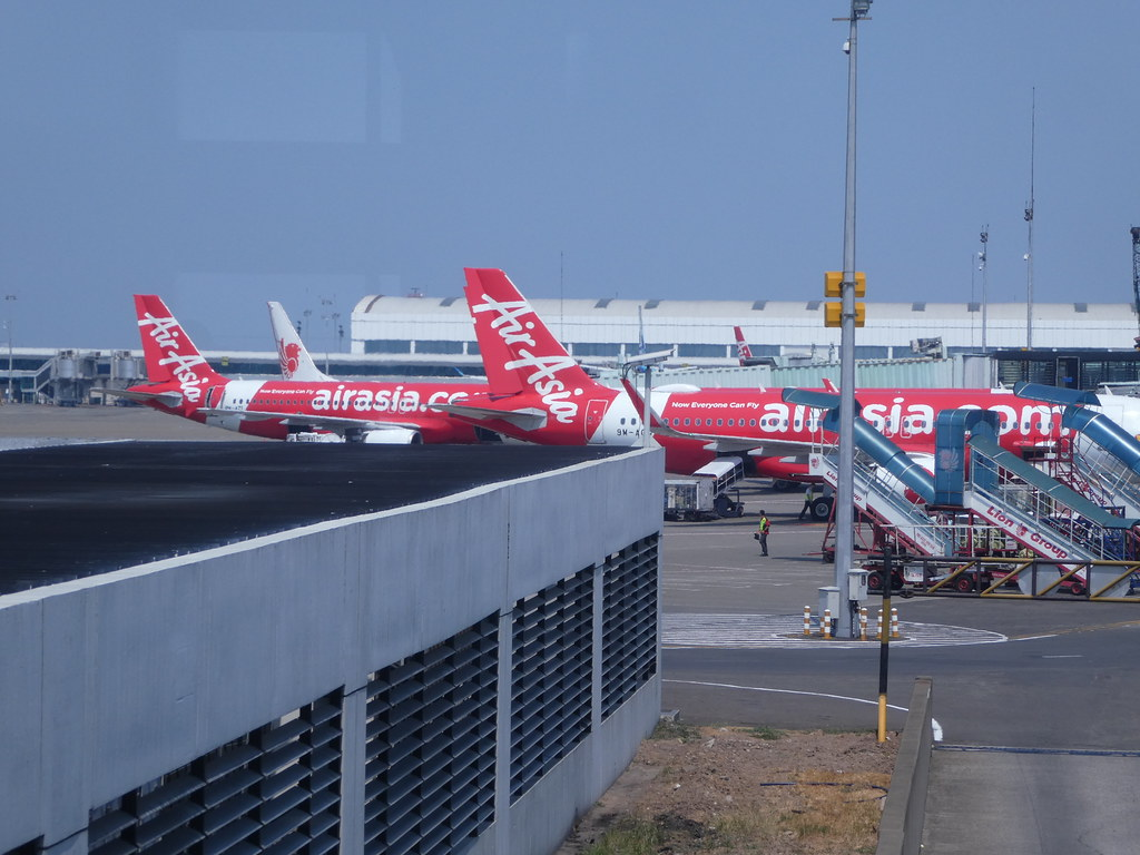 Air Asia planes at Jakarta International Airport