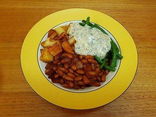 Molasses Baked Beans; Miso-Curry Roasted Potatoes; Creamy Orange-Poppy Seed Dressing