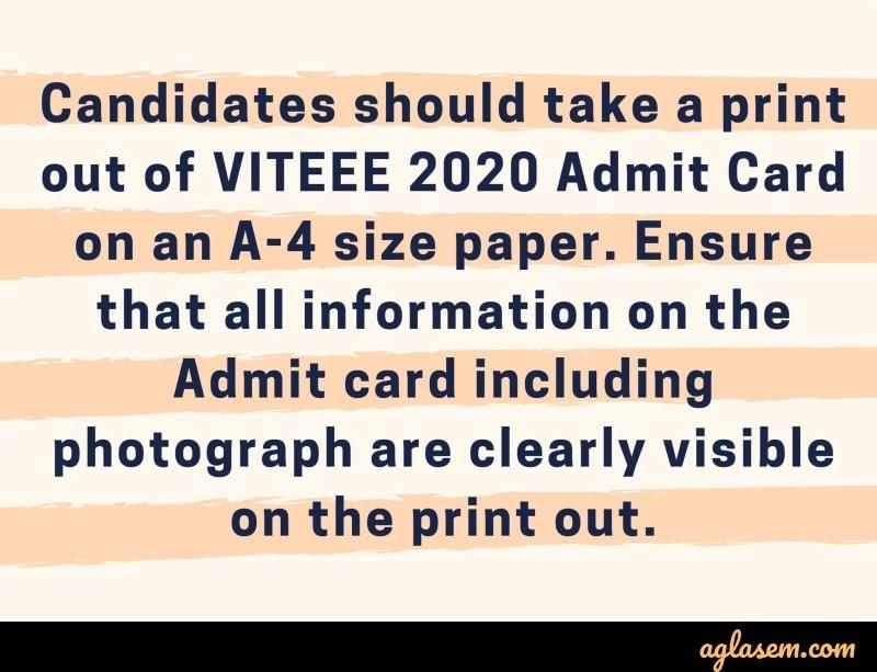 VITEEE 2020 Admit Card Instruction