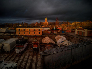 Sunset over the dry dock of Suomenlinna