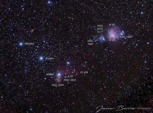 Nebulosa cabeza de caballo (B33), la flama, nebulosa de Orión (M42), y otras 1hora total de exposición.
