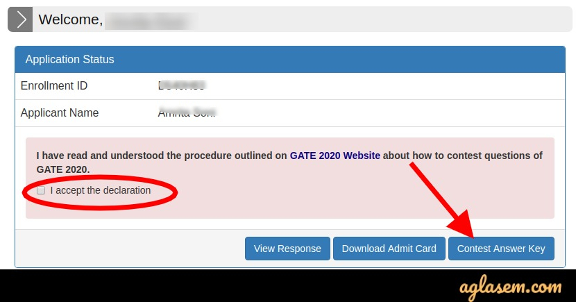 GATE 2020 Contest of Answer Key
