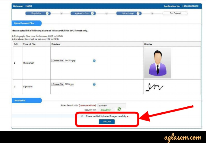 Upload Images in JNUEE 2020 Form