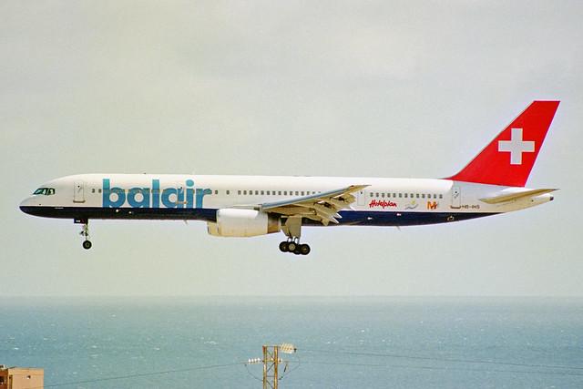HB-IHS Boeing 757-2G5 Balair (blue titles) LPA 04NOV00
