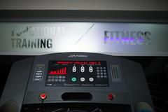 Modern running machine displey closeup.