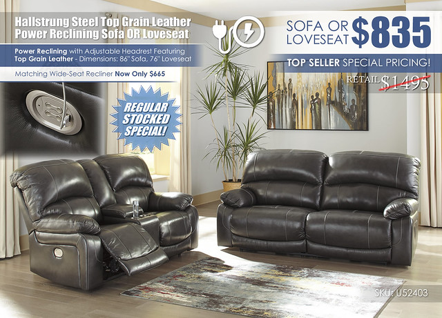 Hallstrung Steel Reclining Sofa OR Loveseat_U52403-47-18-OPEN