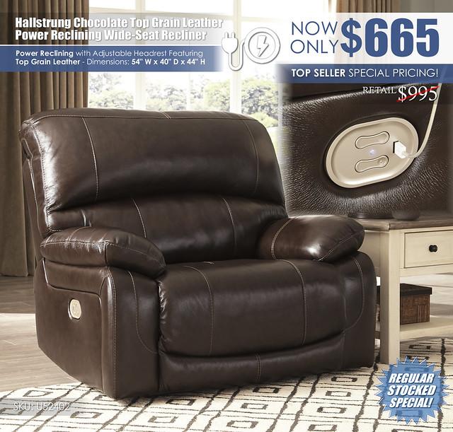 Hallstrung Chocolate Wide Seat Power Leather Recliner_U52402-82