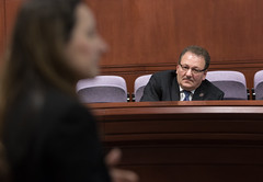 State Rep. Tony D'Amelio listens during a Waterbury Rail Line Caucus meeting.