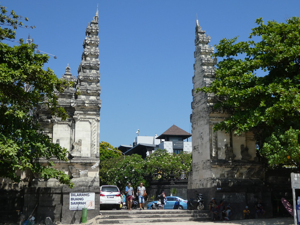 Stone archway at the entrance to Legian Beach, Bali