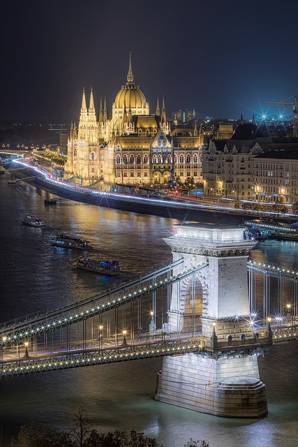 The lights of Budapest...
