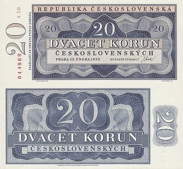 20 Kčs Československo 1953 nevydaná - REPLIKA
