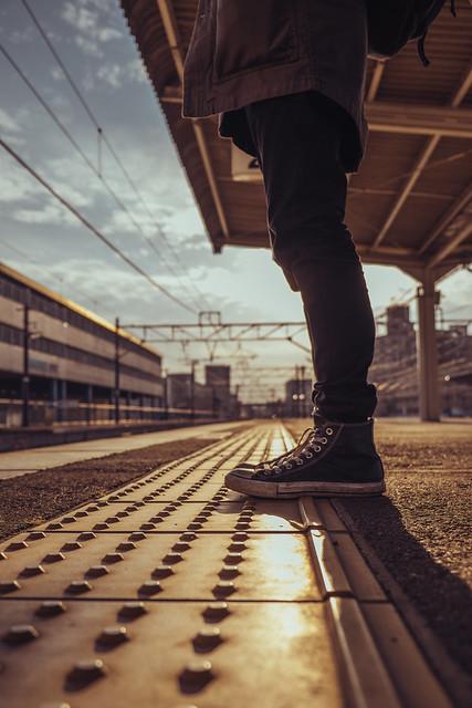 Waiting for a train, Kurashiki
