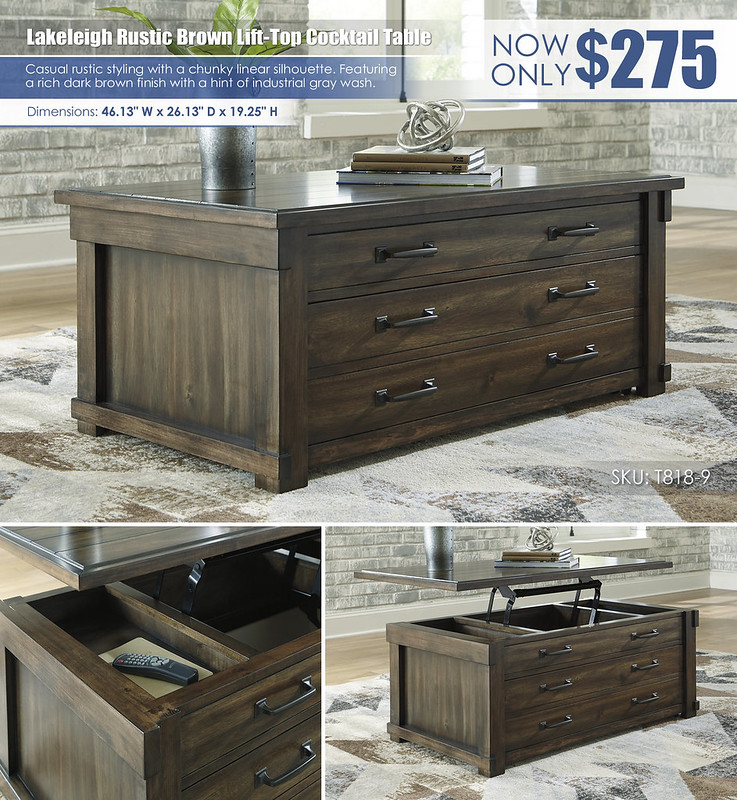Lakeleigh Rustic Brown Lift Top Cocktail Table_T818-9