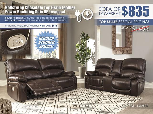 Hallstrung Chocolate Reclining Leather Sofa OR Loveseat_U52402-47-18-OPEN