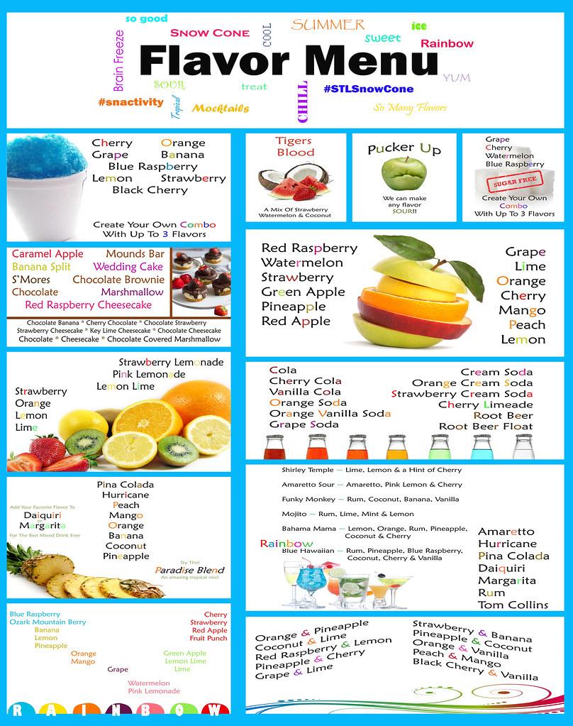 Snow Cone Flavor Menu