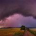 Panorama of Giant shelf cloud in the evening light