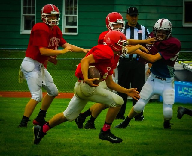 Heading for the end zone