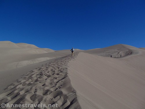 Hiking the ridgeline to Star Dune, Great Sand Dunes National Park, Colorado