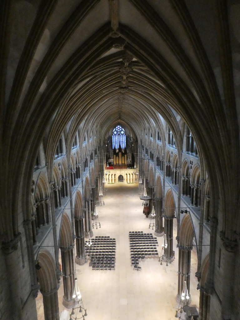 The nave of Lincoln Cathedral viewed from the elevated walkway