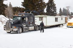 Removing outdated employee housing trailers from YACC camp in Mammoth Hot Springs