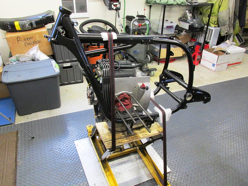 Engine & Frame Strapped to Motorcycle Stand
