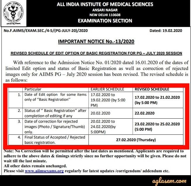 AIIMS PG 2020 Basic Registration Edit Revised Date