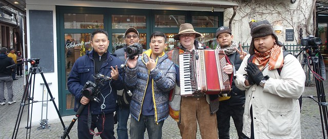 A TV-Team from Thailand in Germany - Ruedesheim on the River Rhine - the Famous small Street DROSSELGASSE