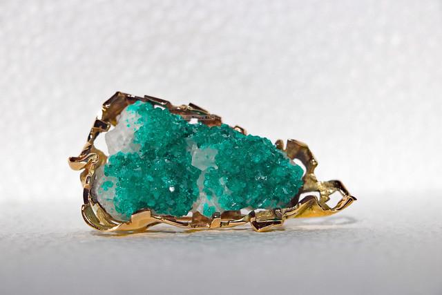 Gold dioptase druse calcite brooch (lying sideways)