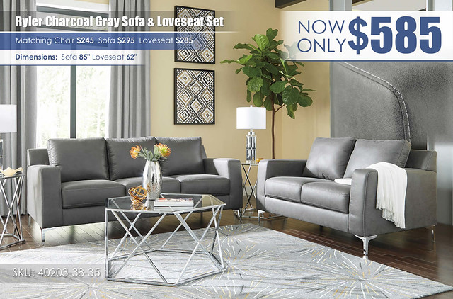 Ryler Charcoal Sofa and Loveseat_40203