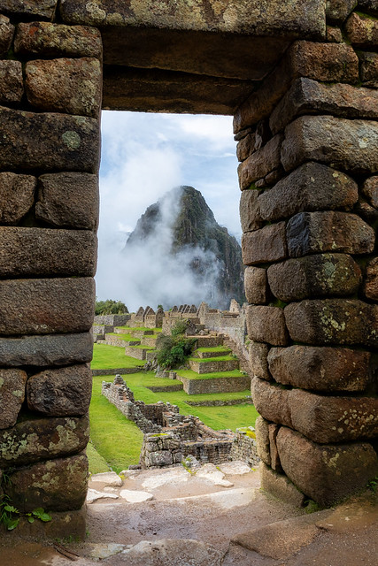 Huayana Picchu framed by Machu Picchu
