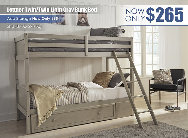 Lettner Twin over Twin Light Gray Bunk Bed_B733-59-50