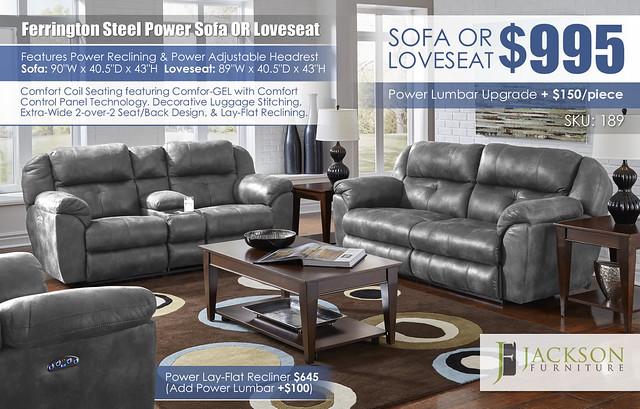 Ferrington Steel Reclining Sofa OR Loveseat_Catnapper_189