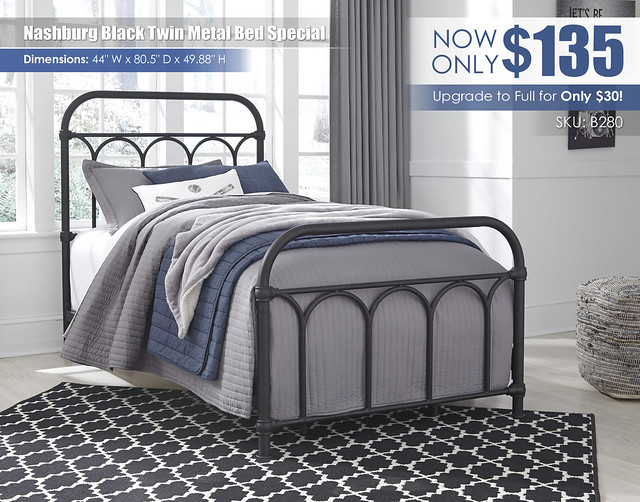 Nashburg Black Twin Metal Bed Special_B280-671