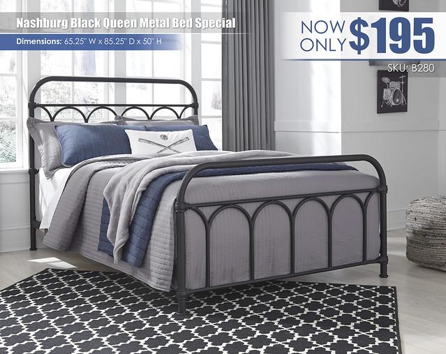 Nashburg Black Queen Metal Bed Special_B280-672