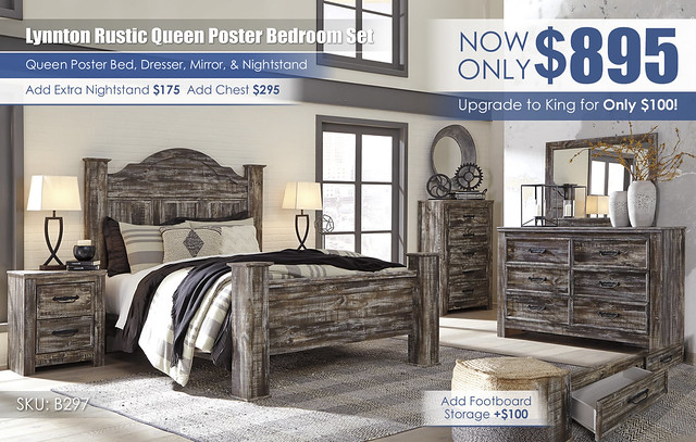 Lynnton Rustic Queen Poster Bedroom Set_B297-31-36-46-67-61-64-96-92