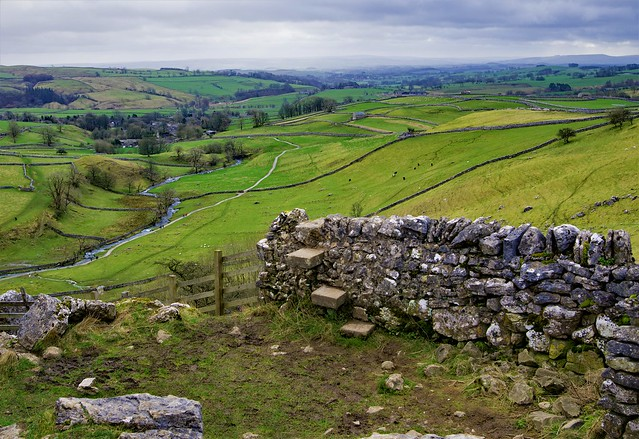 View from the top of Malham Cove, Malhamdale, Yorkshire Dales