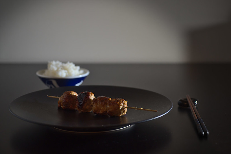Japanese chicken ball skewers